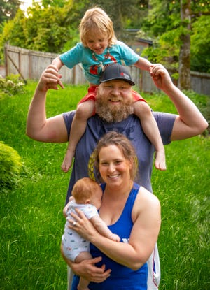 Sabrina Hershey Black, foreground, with 2-month-old Oakes Black, husband Bondy Black and 4-year-old son Boden Black celebrate another Mother's Day during the pandemic.