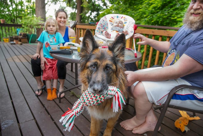 Sabrina Hershey Black, left, with 4-year-old son Boden Black, 2-month-old Oakes Black, husband Bondy Black and family dog Quintus celebrate another Mother's Day during the pandemic.